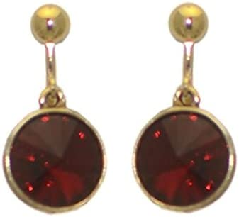 RIVOLI Antiqued Gold plated Siam Crystal Clip On Earrings