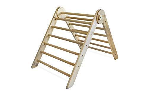 Piklino Triángulo de escalada pikler de madera, plegable, para interiores y bebés a partir de 8 meses, extra grande, 69 x 94 x 61 cm, para desarrollar habilidades motrices gruesas, madera de abedul