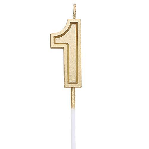 URAQT Geburtstag Zahl Kerzen 1, Gold Glitzer Geburtstagskerzen, Dekorative Geburtstagstorte, Hochzeitsparty, Abschlussfeier Usw.