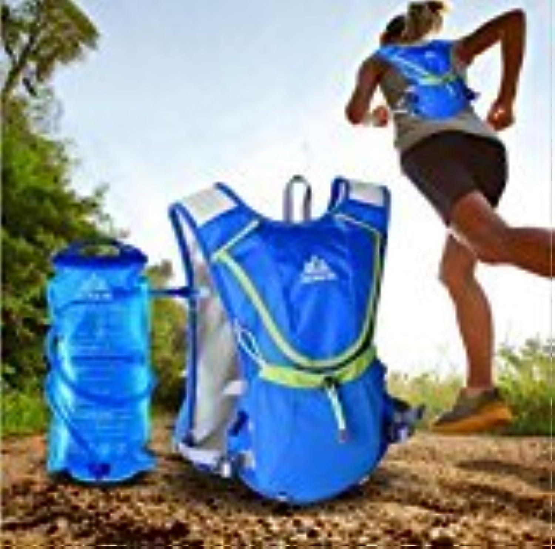 Elegantstunning Professional Outdoors Marathoner Running Race Hydration Vest Hydration Pack Backpack+2L Water Bag bluee Sport Water Bottle