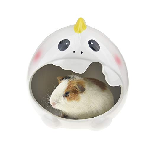 FLAdorepet Summer Cooling Guinea Pig Bed Small Animal Ceramic House Snuggle Sack Squirrel Chinchilla Hedgehog Hideout Hut (7.57.57.5inch, White Dinosaur)