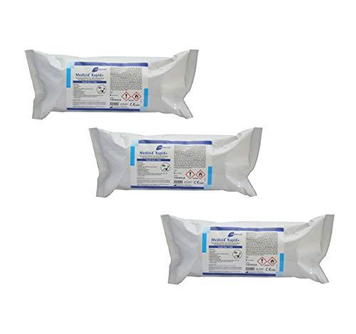 Meditrade Medizid® Rapid + | 3 x Nachfüllpackung Desinfektionstücher | Mit je 150 Tüchern