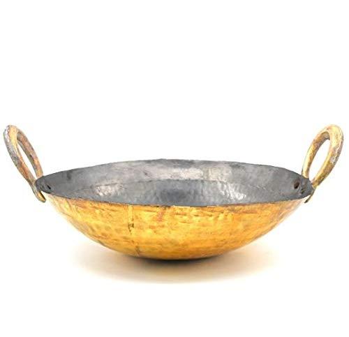 Spacetouch Latón martillado indio tradicional estaño revestimiento kadai cocina wok estaño recubierto Wok estaño recubierto Karahi 5 litros