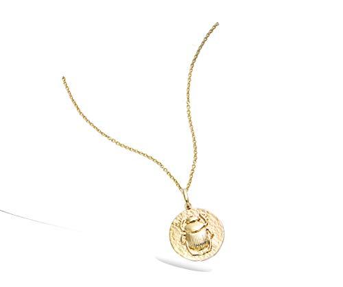Tata Gisèle - Colgante chapado en oro, diseño de escarabajo, aspecto vintage, bolsa de regalo