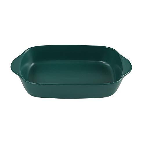 Dark Green Small Ceramic Rectangular Baking Dish with Handles
