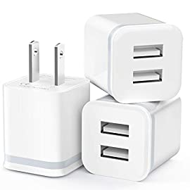 Usb wall charger, luoatip 3-pack 2. 1a/5v dual port usb cube power adapter charger plug charging block replacement for… 1 model: hc45 widely compatibility: usb charger replacement for phone xs max phone xr x/8/7/6/6s plus phone se 5s/5/5c 4s, pad, pod, note, htc, lg, motorola, samsung galaxy, google pixel and more phones. Parameter: usb output: 2. 1amp 5v. Which enables to charge your two smart phone or tablet devices simultaneously at maximum speed. Compact design: heat resistant and anti-throw design, compact and easy to carry, comfortable grip, suitable use for home, travel, office, and business trip.