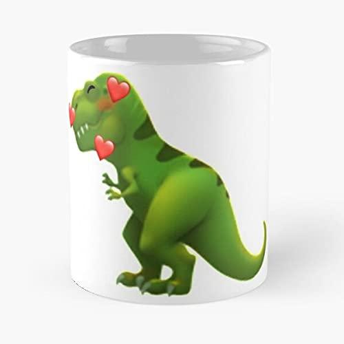 Cute dinosaurio Emoji Merge?+? - La mejor taza de café de cerámica de mármol blanco
