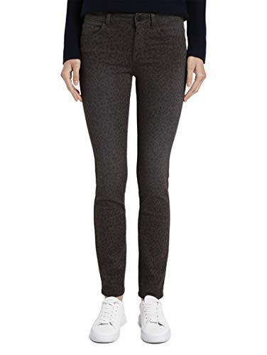 TOM TAILOR Damen Jeanshosen Alexa Slim Jeans mit Leo-Print Dark Grey Leopard Design,27/32,24691,2500