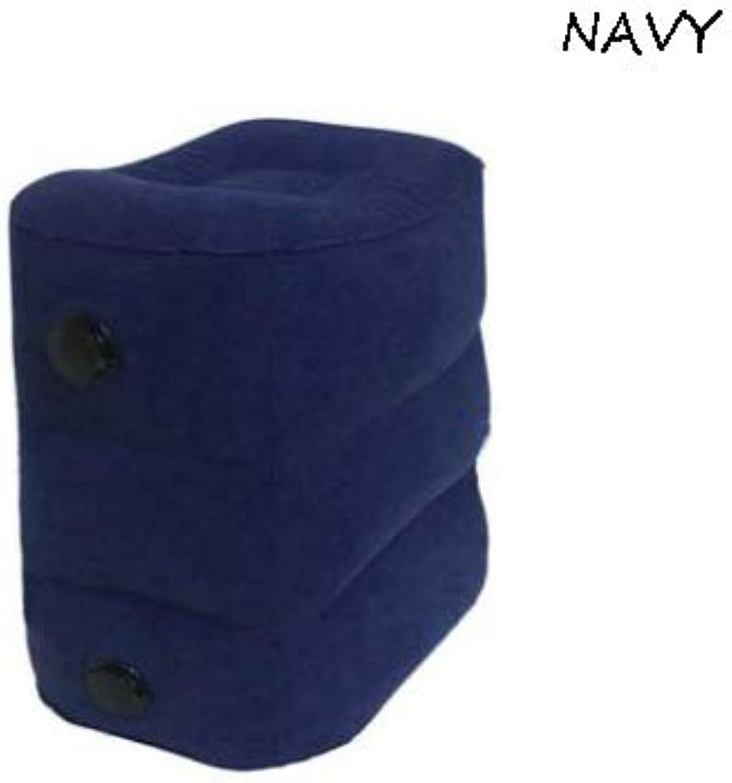 Flocking Footrest,Inflatable Portable Adjustable Height Non-Slip Atmospheric Valve Cuboid Cube Ergonomic(40cm30cm46cm 40cm30cm32cm),Navy,threelayers