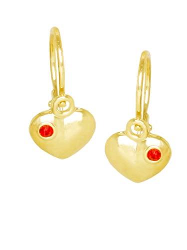 Herz Ohrhänger Ohrringe Gelbgold 585 Gold (14 Karat) 12mm x 6mm Herzchen Herzform Mit Stein Zirkonia Goldohrringe Mädchenohrringe Bambino V0003889
