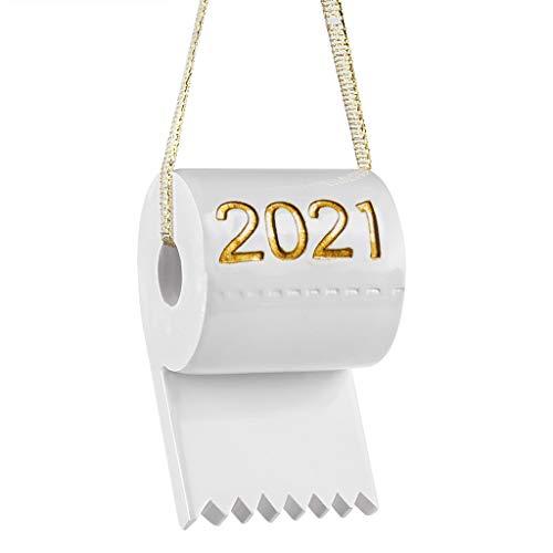 GRUTTI Etiquetas de papel higiénico Papel higiénico regalo Adorno navideño Pandemia 2021 Superviviente de cuarentena Fiesta familiar Decoración del árbol de Navidad Colgante colgante (dorado)