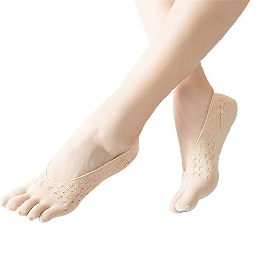 ZQDL Calcetines ortopédicos de compresión para mujer, forro de corte ultra bajo con pestaña de gel transpirable