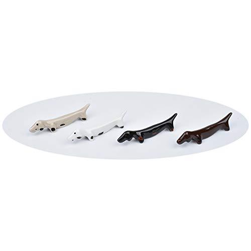 gShopVV 4 Pcs Color Dachshund Dog Set Ceramic Chopsticks Rest Spoon Fork Knife Holder Rack