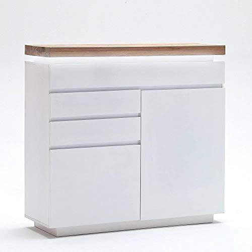 INSIDE Buffet Haut Romina 2 Portes 3 tiroirs laqué Blanc Mat Plateau chêne noueux huilé