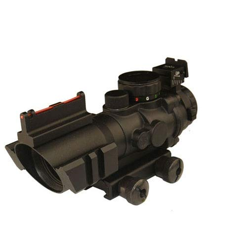 THEA Prism 4x32 Red/Green/Blue Triple Illuminated Rapid Range Reticle Rifle Scope W/Top Fiber Optic Sight and Weaver Slots (12 Month Warranty)