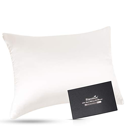 Ravmix 100% Pure Mulberry Silk Pillowcase 30 Momme 900TC for Hair and Skin with Hidden Zipper Both Sides Soft Breathable Silk, Queen Size 20×30inch, 1PCS, Ivory White