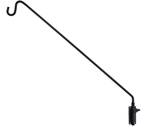 Gray Bunny Heavy Duty Extended Reach Wall Mounted Deck Hook/Wall Pole, 37 Inch, Black, Wall Bracket for Bird Feeders, Planters, Suet Baskets, Lanterns, Wind Chimes and More!