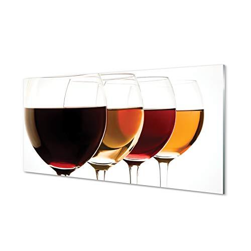 Tulup Cuadro de Cristal 140x70cm Impresa Decoración De Pared Mural - Vino Copas de Vino