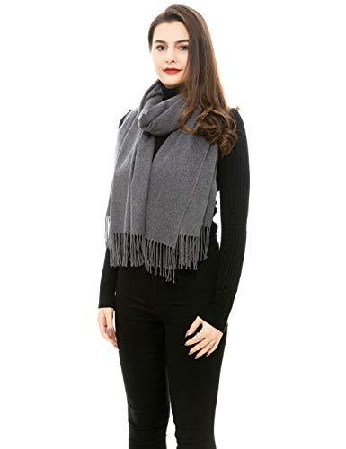 REEMONDE Womens Super Soft Long Shawl Solid Colors Warm Pashmina Big Scarf (Dark Grey)