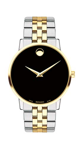 Movado Men's Museum Two Tone Watch with a Concave Dot Museum Dial, Gold/Silver/Black (Model 607200)