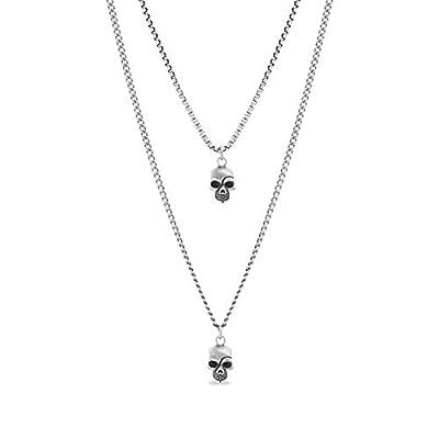 Steve Madden Men's Oxidized Skull Head Pendant Double Strand Chain Necklace Set in Stainless Steel, Silver, 28