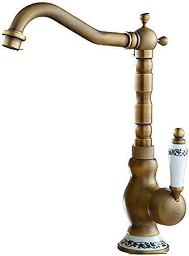 Grifos para lavabo de baño, 30,5 x 25 x 16,2 cm, latón montado en la cubierta, grifo giratorio para baño, grifo de cobre de porcelana vintage
