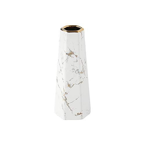 HCHLQLZ 20cm Weiß Gold Marmor Vase Keramik Vasen Blumenvase Deko Dekoration
