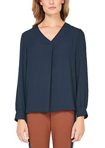 s.Oliver BLACK LABEL Damen Elegante V-Neck-Bluse aus Crêpe navy 42