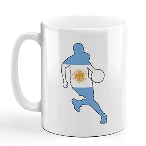 N\A Taza de café de cerámica, 11 onzas, Jugador de Baloncesto, diseño de Taza de té Blanco para Deportes de Argentina