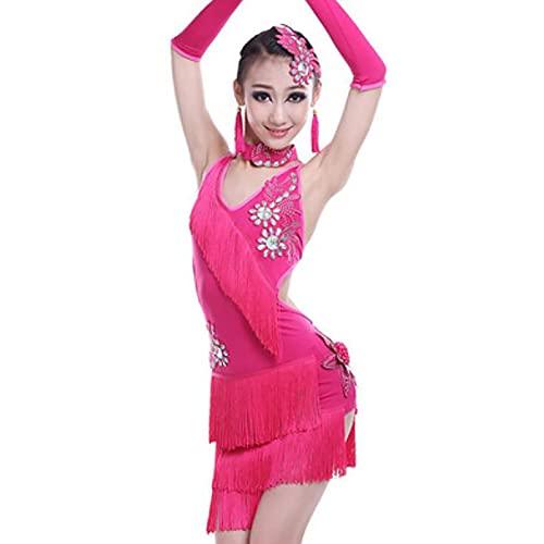 SHADIOA Mädchen Latin Tanzkleid, Fringe Ballsaal Samba Kleid Ballsaal Tango Kleider Ballsaal Tanzkleid Für Mädchen,Rosa,140CM