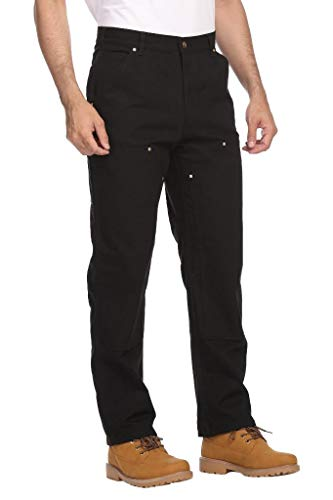 Men's Relaxed Fit Duck Double-Front Dungaree Pant Workwear Construction Pants Cargo Operator Pants with Pockets Black