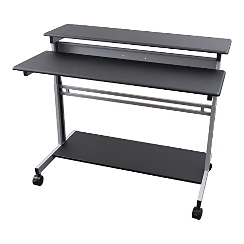 Stand Up Desk Store Rolling Adjustable Height Two Tier Standing Desk Computer Workstation (Silver Frame/Black Top, 48' Wide)