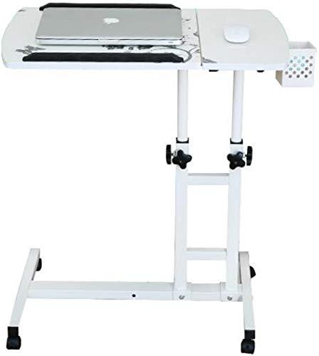 Mobiele laptop pc-tafel tafel staander hout voor slaapbank naast tafel op wielen in hoogte verstelbaar boven nachtkastje werkplek voor bank slaapkamer huis