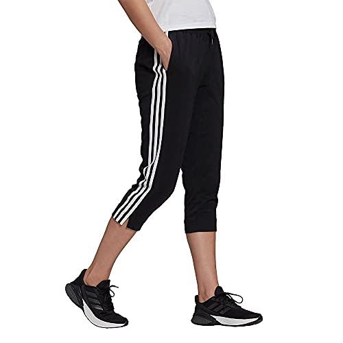adidas Damen 3-Streifen 3/4 Hose, Black/White, M