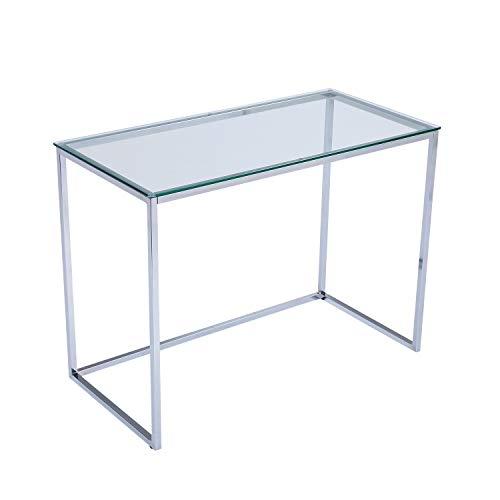 Screen, Mesa de Estudio, Escritorio o Despacho, Mesa de Oficina, Acabado en Cristal y Cromo, Medidas: 100 cm (Largo) x 50 cm (Ancho) x 75 cm (Alto)