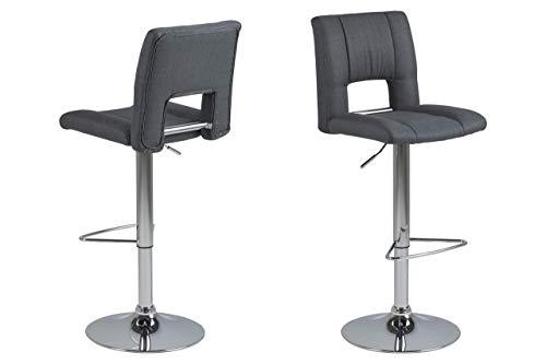 Amazon Brand - Movian Sarnen - Juego de 2 taburetes de bar, 52 x 41,5 x 115 cm (largo x ancho x alto), gris oscuro