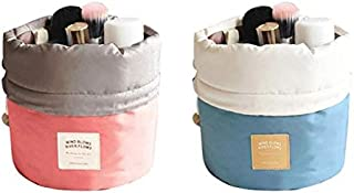 2 in 1 Waterproof Travel Makeup Cosmetic Organizer Toiletry Storage Bag Dresser Pouch Round Cylinder Women Makeup Bag Girls Wash Bags High Capacity Storage Bag