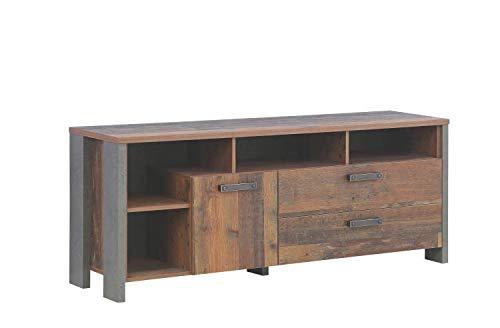 RASANTI TV-Unterschrank Clif von Forte Old Wood Vintage/Betonoptik Dunkelgrau i