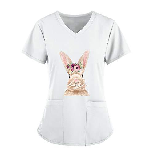 Damen Arbeitskleidung Uniform T-Shirt Print Kurzarm V-Ausschnitt Tops mit 2 Taschen