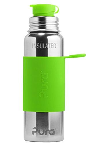 Pura Stainless - Borraccia sportiva isolata, 650 ml, colore: Verde