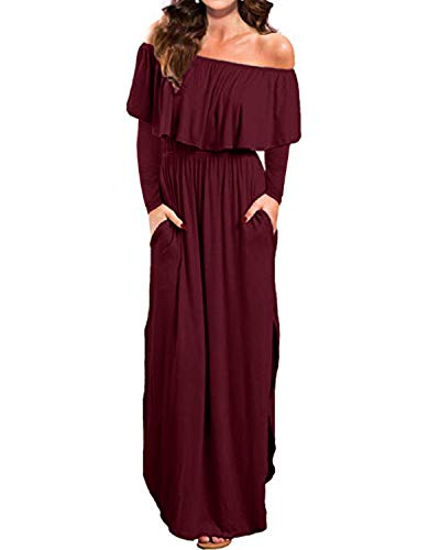 Kidsform Women's Off The Shoulder Maxi Dress Long Sleeve Floral Ruffle Party Side Split Beach Dresses with Pockets Y-Wine red Small