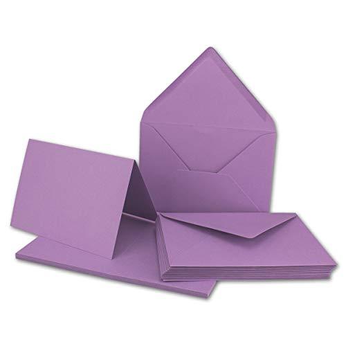 Set de cartes pliables au format A6 avec enveloppes au format C6 à collage humide Sans boîte 10 Karten-Sets lilas