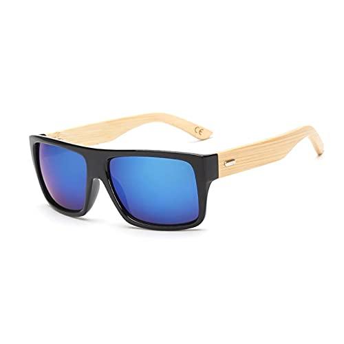 NIUBKLAS Gafas de sol de madera originales para hombres y mujeres con espejo UV400, gafas de sol de madera real, gafas de sol doradas y azules para exteriores, hombre KP1523C2Blue