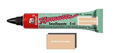 Helmecke & Hoffmann Remalle Emaille Paste Emaillelack Reparaturlack Lack in vielen Farben je 8 ml + Pinsel Fuer Jede Tube (Bahama-beige)