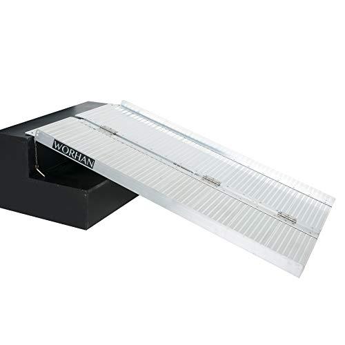 WORHAN® Rampa Plegable Carga Silla de Ruedas Discapacitado Movilidad Aluminio Anodizado (122cm solo pliegue) 1R4