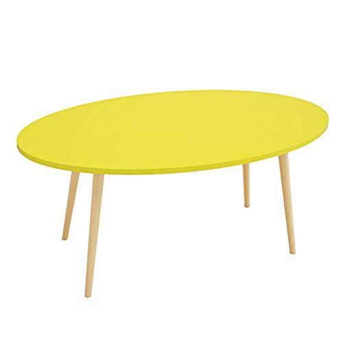 Rventric Ovaler Couchtisch Holzschreibtische Möbel, Notebook Computer Schreibtisch Wohnzimmer Beistelltische (90 / 100CM),Yellow,90CM