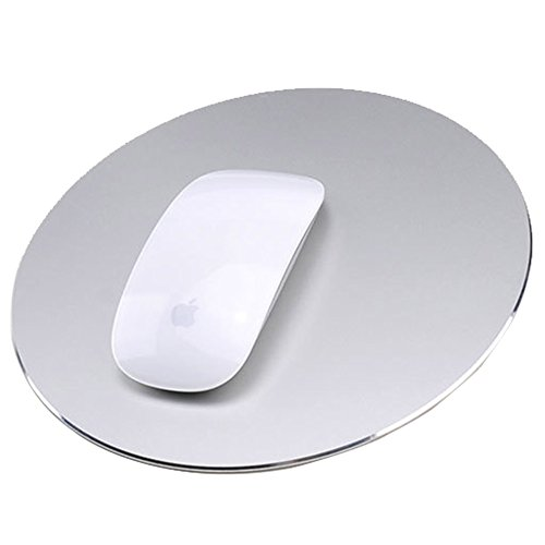 Round Mouse Pad LoiStu Round Aluminum Alloy Mouse Pad Winter and Summer Dual-Use Waterproof Antiski Matte Metal/High-Grade PU Leather Mouse Pad (Silver)
