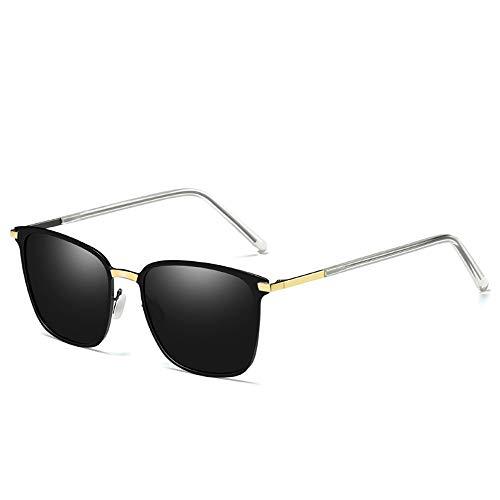 TYXL Sunglasses Gafas De Sol Polarizadas for Hombre Caja De Metal Nueva Gafas De Conductor Protección UV400 Lente Gris (Color : Gold)