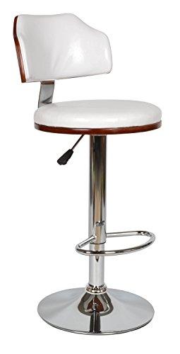 ts-ideen Taburete Bar Bistro Comedor Asiento Silla Madera Cuerina Blanco 61 x 82 cm