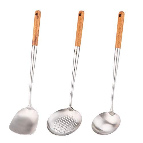 Wok-Pfannenwender und Schöpflöffel, Schöpflöffel, Werkzeug-Set, 43,2 cm Pfannenwender für Wok, 304 Edelstahl